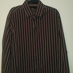 Men's L Alfani dress shirt, black pink & gray
